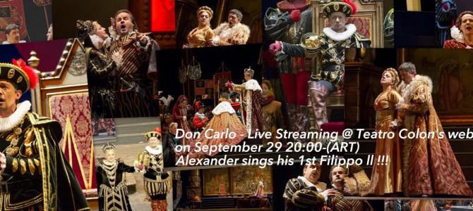 Sep.29 – Don Carlo Live streaming @ Teatro Colon's website!!